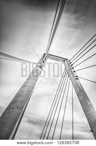 Cable Bridge in Umea Sweden with a cloudy sky
