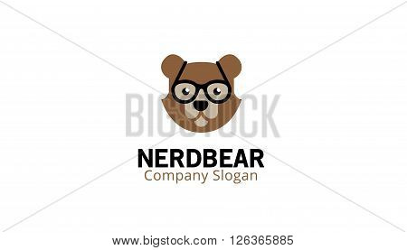 Nerd Bear Creative And Symbolic Logo Design Illustration