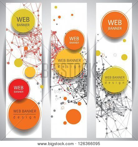 Abstract web  banners molecule and communication. Science and technology design,  chemistry, medical background, business and website templates. Vector illustration