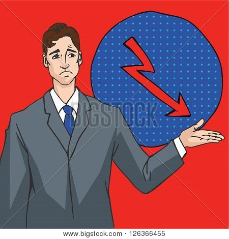 Vector image in pop art style with man showing arrow down