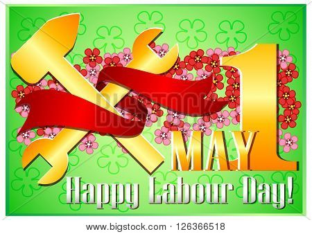 Postcard for holiday of Spring and Labor. Mayday. 1 may with scattering of flowers and gold work tools with red ribbon on green floral background. Vector illustration