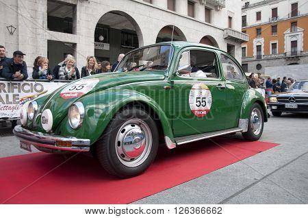 BRESCIA, ITALY - APRILE 17, 2016:500 Miglia. Finish. VOLKSWAGEN BEETLE, 1964 built