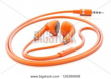 Orange earphones on white reflective background - 3D illustration