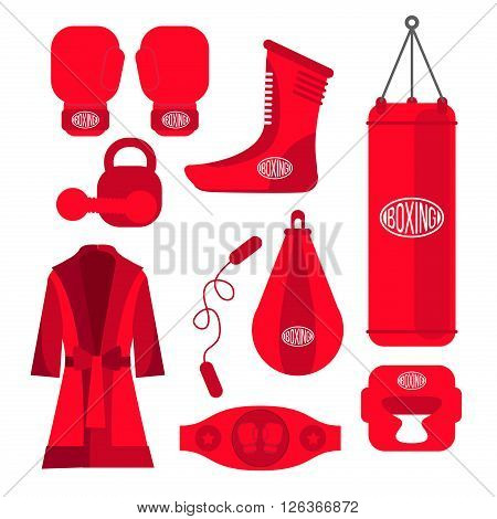 Boxing vector design elements. Fighting and boxing equipment. Boxing gloves vector illustration. Boxing gym icons. punching bag