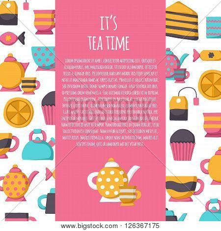 Vector tea background. Tea time concept. Tea ceremony or tea party cartoon objects: lemon tea bag teapot cup. Vector illustration with textspace and tea background