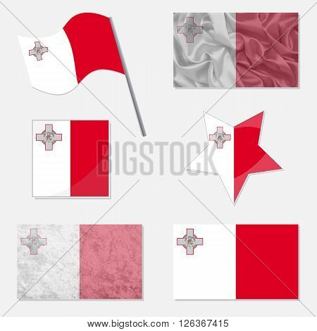 Flags of Malta Made in Different Variations: in Flat Design with Fabric Texture and as Web Buttons