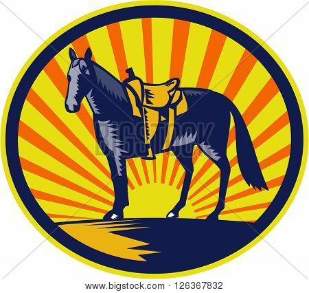 Illustration of a riderless horse with old style western saddle on ranch fence set inside oval shape with sunburst in background done in retro woodcut style.