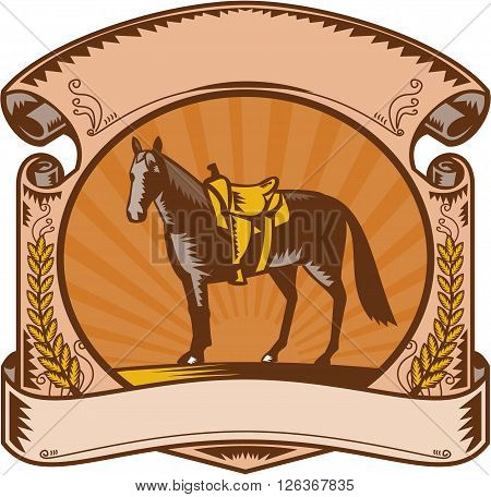 Illustration of a riderless horse with old style western saddle on ranch fence set inside oval shape with scroll and laurel leaves and sunburst in background done in retro woodcut style.