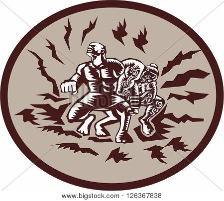 Illustration of Samoan legend Tiitii wrestling the God of Earthquake and breaking his arm set inside circle done in retro woodcut style
