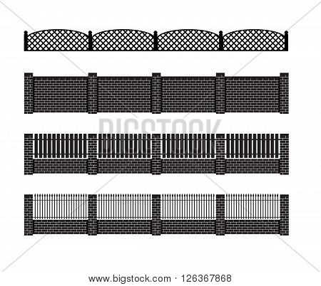 Fence vector illustration. Brick fence and wood fence. Fence around the house vector design. Security fence. Brick wall fence. Fence vector collection.