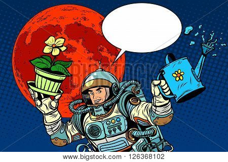 colonization Mars astronaut plants irrigation pop art retro style. Ecology and science. Agriculture and desert. Man astronaut