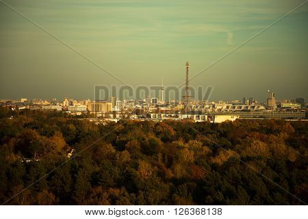 Skyline of Berlin with surrounding forest in autumn