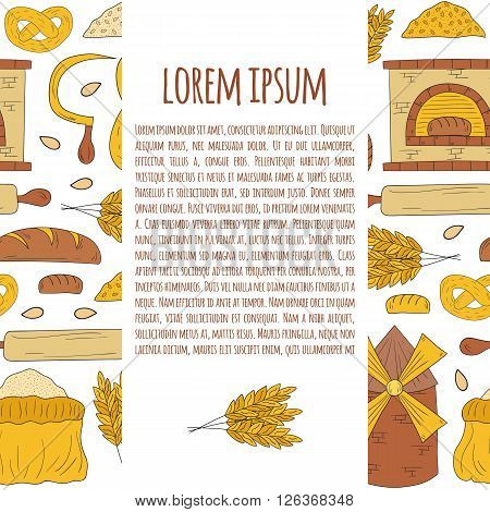 Vector bread harvest illustration with hand drawn seamless background. Cartoon bread harvest objects. Bread production concept. Vector background on bread harvest theme. Cartoon bread production