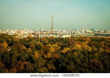 Skyline of Berlin with TV tower in autimn sunlight