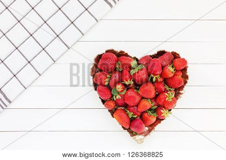 Fresh Strawberries In Plate On White Wooden Table. Top View, Copy Space. Strawberry Heart.