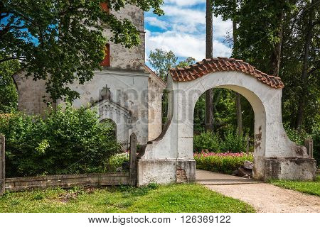 Entrance Of  Evangelical Lutheran Church In Dundaga. Latvia, 1766