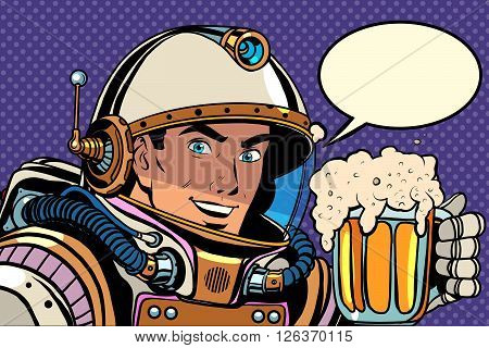 Astronaut with a mug of foaming beer pop art retro style. Kvass and beer. Bars, pubs and restaurants