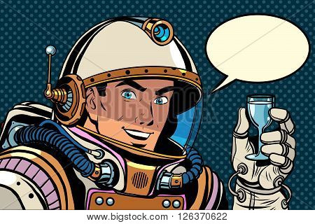 Cosmonaut toast celebration pop art retro style. Holiday. Day of cosmonautics. Astronaut retro birthday