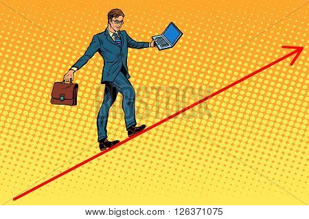 Businessman acrobat walking the wire graphics pop art retro style. The business concept of the circus. Balance in business