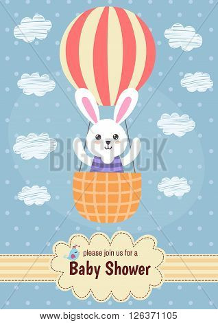 Baby shower card with a cute rabbit flying on balloon. Vector illustration