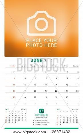 June 2017. Wall Monthly Calendar For 2017 Year. Vector Design Print Template With Place For Photo. W