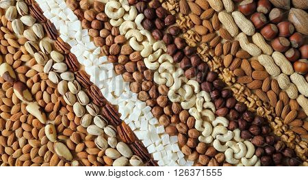 Natural background made from different kinds of nuts.