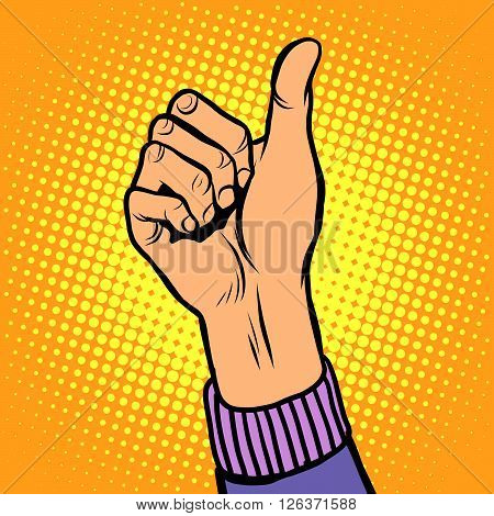 Thumb up gesture like pop art retro style. Hand gesture is all right. Hitchhiking gesture. Like in social networks