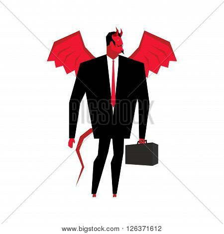 Devil Businessman. Satan Is Boss Of Hell. Lucifer In Business Suit. Red Demon With Wings And Carryin