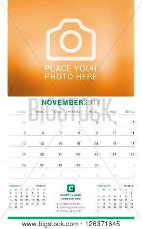 November 2017. Wall Monthly Calendar For 2017 Year. Vector Design Print Template With Place For Phot