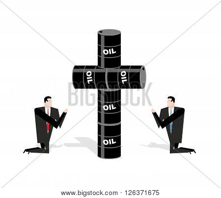 Businessman Praying For Oil. Cross Of Oil Barrels. Prayer Oil Quotations. People Are Standing On The