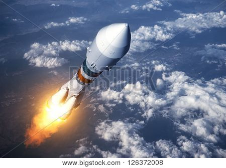 Cargo Carrier Rocket Launch In The Clouds. 3D Scene.