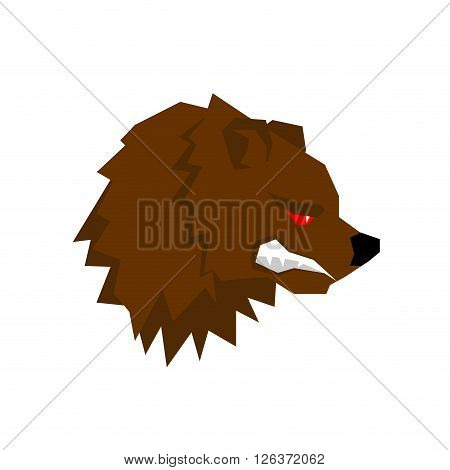 Angry Bear. Aggressive Grizzlies With Grin. Wild Beast Growls. Scary Ferocious Animals Of  Forest