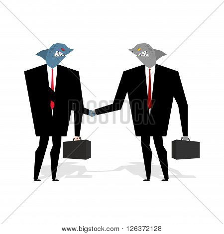 Business Sharks Handshake make deal. Professionals shake hands. Agreement between marine predators. Agreement between wicked animal. Fish in business suit and tie