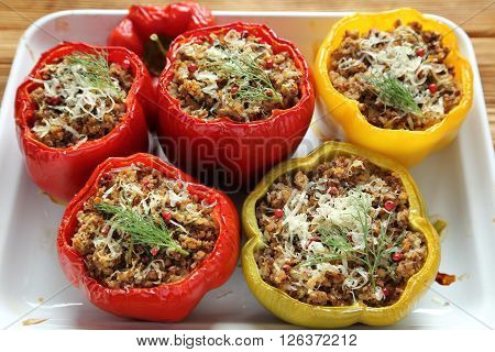 Stuffed paprika with meat rice and buckwheat.