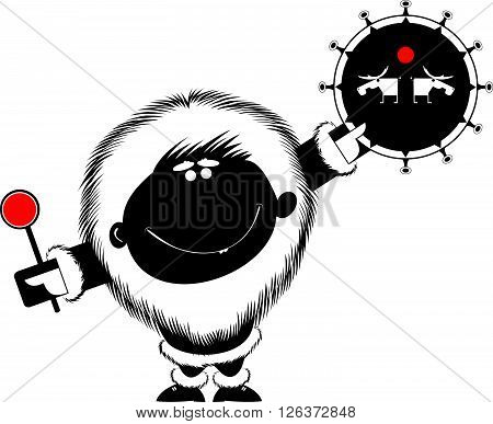 Shaman. Smiling man beats the tambourine illustration