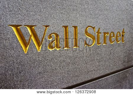 Caption Wall Street in Lower Manhattan New York City USA