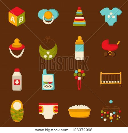 Vector baby care goods. Baby shower concept. Baby care and newborn goods in cartoon style. Baby care icons. Vector illustration with baby care goods. Isolated newborn baby icons. Babycare concept