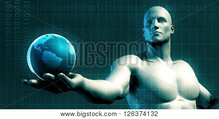 Businessman Holding the World in His Hands Illustration 3D Illustration Render