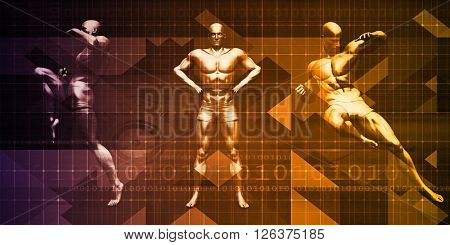 Body Combat Sport Design with Men in Fighting Stance 3D Illustration Render
