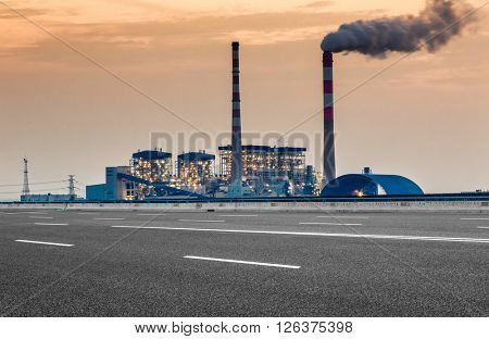 oil refinery factory under the cloudy sky