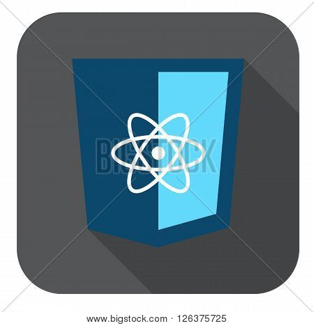 vector icon blue web shield  js framework  - isolated flat design illustration long shadow on while