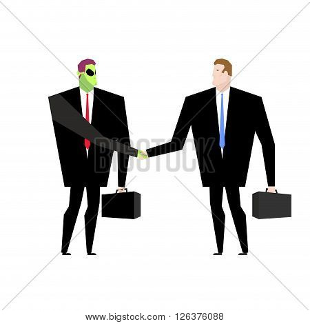 Deal With  Ufo. Businessman And Alien Conclude Case. Martian And Man Shake Hands. Handshake Humanoid