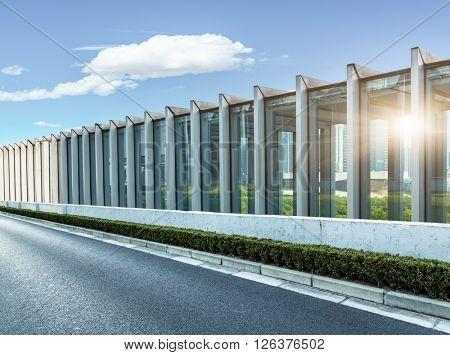 highway railings under the blue sky