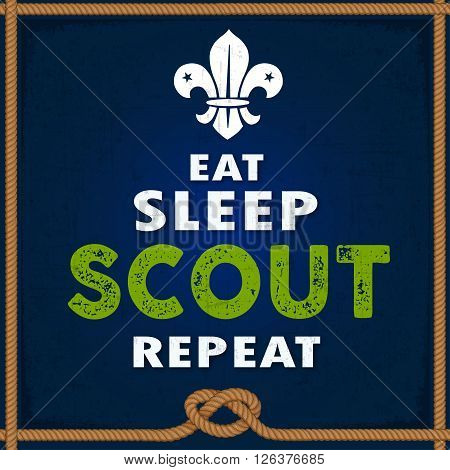 Eat Sleep Scout Repeat poster design with modern art
