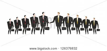 Combining Corporations. Business Deal. Merger. Managers Shaking Hands. Handshake Office Workers. Agr