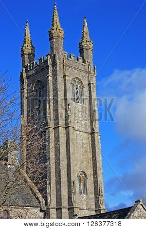 Tower of St Pancras church in Widecombe, Dartmoor