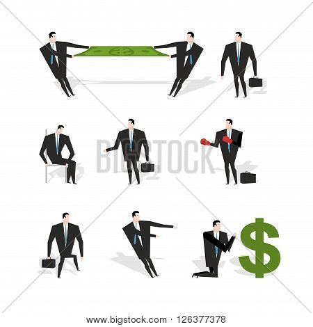 Set Businessman Situation. Figures Of Man In Suit With Briefcase. Share Profit. Businessman With Box