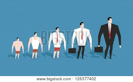 Business evolution. development of simple worker in pants to boss in suit. Formation of businessman in his career. Achieving status of company