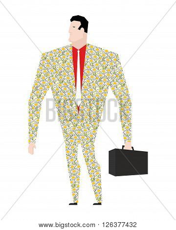 Dude Businessman In Suit Of Colors. Flower Clothing. Trendy Office Plankton. Boss With A Suitcase On