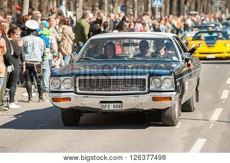 NORRKOPING, SWEDEN - MAY 1: Dodge Polara Custom 1973 at the classic car parade celebrates spring on May 1, 2013 in Norrkoping. This parade started in 1974 and has become an annual tradition in Norrkoping on May 1.
